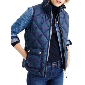 J. Crew black watch plaid quilted puffer vest